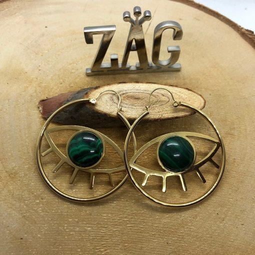 Boucles d oreilles Zag œil malachite