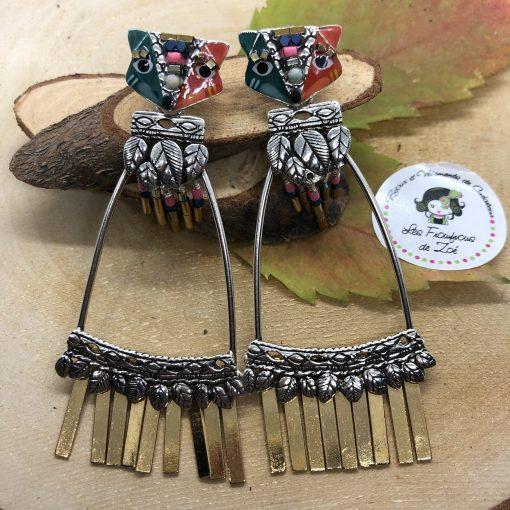 Boucles d oreilles renard tige émaillé et perles Taratata