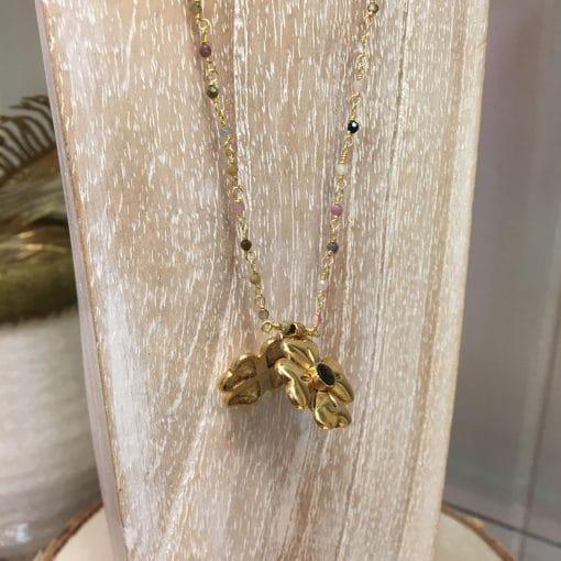 Collier trèfle 4 feuilles La2l amulette tourmaline.2